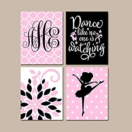 Amazon Com Ballerina Wall Art Hot Pink Black Baby Girl Nursery