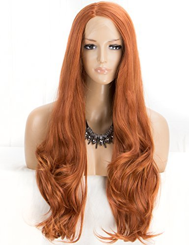 Light Copper Red Lace Front Wigs for Women, Long Wavy Synthetic Wig Scheherezade Right Side Parting Lace Wigs Half Hand Tied 24 Inches
