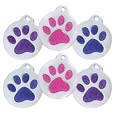 Super Cute Glitter Paw Pet Id Tags | Personalized with 4 Lines of Text | Available in 3 Color Options: Pink, Purple, and Blue | for Cats and Dogs.