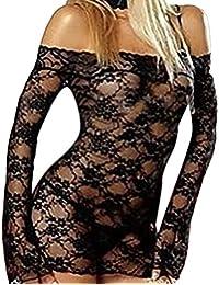 Sexy Womens Lace Lingerie Corset Perspective Bodysuit Babydoll Nightdress Temptation Underwear Sleepwear (Black)