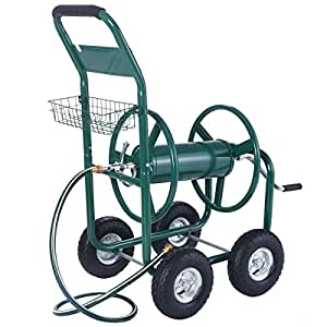 Reel cart 300ft outdoor heavy duty yard garden water hose planting with basket new solid steel axles and air inflation wheels