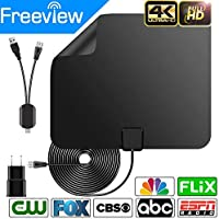 TV Antenna, 2018 New Version !HDTV Antenna,Indoor Amplified TV Antenna 50 Miles Range Detachable Amplifier Signal Booster 16 Feet Coaxial Cable (Black)