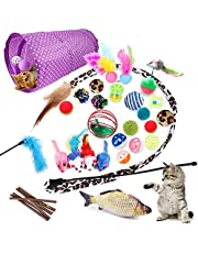PETSLY 28-Pcs Cat Toys Kitten Toys Assorted, Cat Tunnel Catnip Fish Toy Interactive Feather Teaser Wand Fish Fluffy Mouse Mice Balls and Bells Toys for Cat Puppy Kitty, Multiple Colors Cat Toy