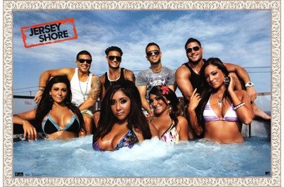 Framed Jersey Shore - Cast- 34x22 Inches - POSTER (White Wash - Cast Jersey Shore