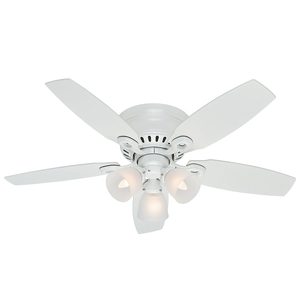 Hunter 52087 Hatherton 46-Inch Snow White Ceiling Fan with Five Snow White Blades and a Light Kit