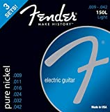 Fender 150L Nickel Ball End Light Guitar Strings, Gauges 9-42 (3-Pack)