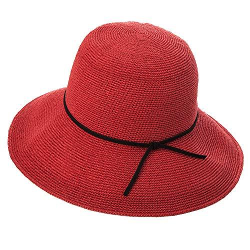 (Jeff & Aimy Womens Sun Hat Straw Panama Fedora Cloche Packable Floppy Brim Fashion Straw Cloche UPF Summer Beach Travel Hat Red)