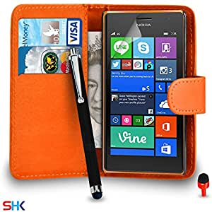 Nokia Lumia 735 Premium Leather Orange Wallet Flip Case Cover Pouch + Big Touch Stylus Pen + RED 2 IN 1 Dust Stopper + Screen Protector & Polishing Cloth SVL2 BY SHUKAN®, (WALLET ORANGE), [Importado de UK]