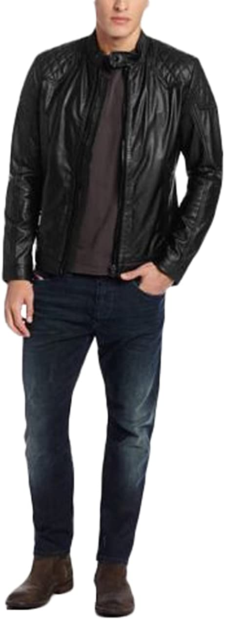 Men Slim Fit Biker Motorcycle Lambskin Leather Jacket Coat Outwear Jackets T1244