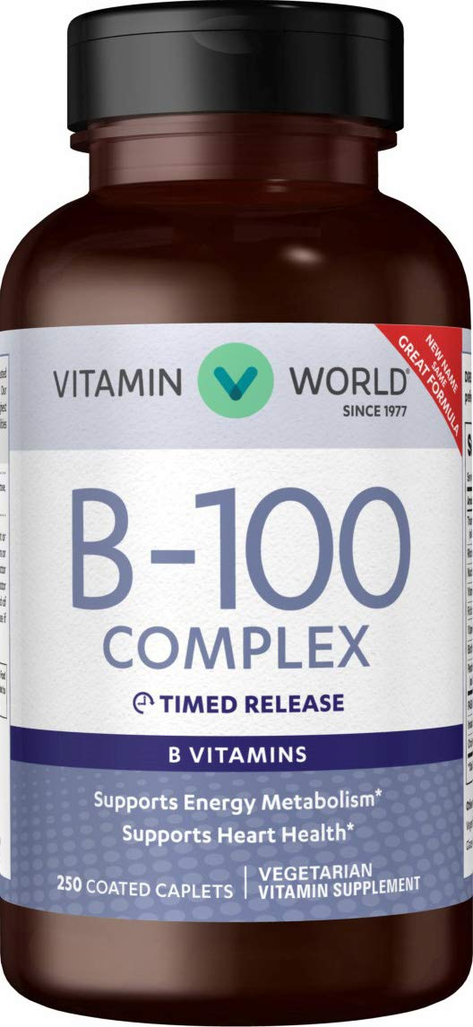 Vitamin World B-100 Complex Timed-release 250 Caplets, Supports Energy Metabolism, Heart Health, Vegetarian, Coated, Timed-release, Gluten Free