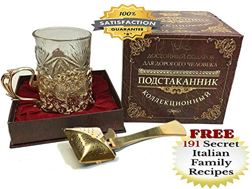(BEST RUSSIAN TEA CUP with Podstakannik Glass Holder and Gold-Plated TEA INFUSER for Loose Tea LUXURY TEA SET)