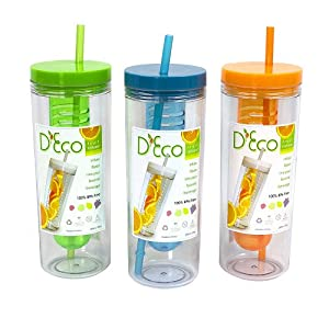 Fruit Infuser Water Bottle with Straw - 20 oz - BPA Free (Set of 3- Orange, Blue, and Green)