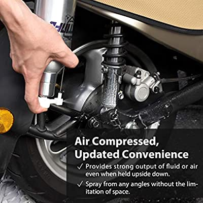 FIRSTINFO Aluminum Can Pneumatic/Manual Refillable Fluid/Oil Pressure Storage Sprayer + Jet Dual Purpose Nozzle and 0.5mm,1.0mm,1.5mm short nozzle Kit (With 4 different type nozzles): Home Improvement