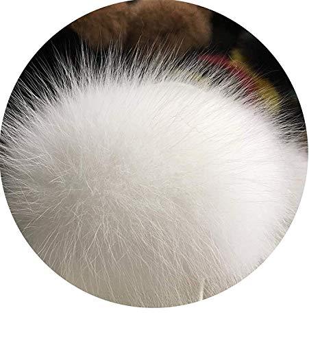 High end Women Fox Fur Slippers Slides Female Furry Indoor Flip Flops Casual Beach Plush Shoes,11MUS,White