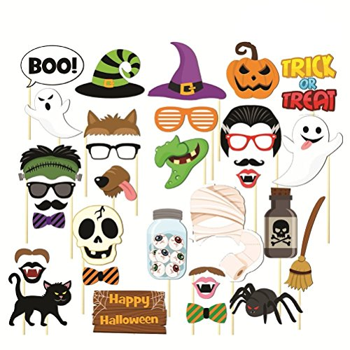 35pcs HAPPY HALLOWEEN Photo Booth Props Skull Witch Hat Pumpkin Bat Butterfly Fancy Party Decor Supply,Attached to the stick NO DIY Required
