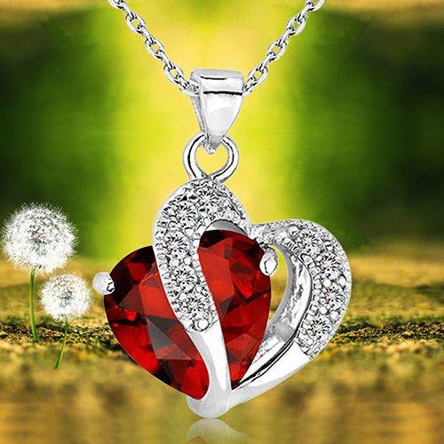 wassana LC_ femmes Double Chaîne Pendentif Cœur Amour Cristal faux-diamants collier