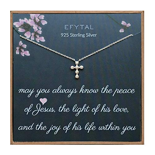 EFYTAL Religious Gifts for Women, 925 Sterling Silver Tiny CZ Cross Necklace, Christian Jewelry Gift for Her, Peace of Jesus, First Communion Baptism Present for Girl