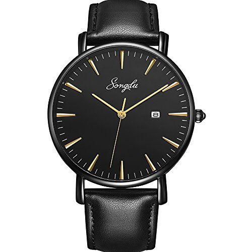 (SONGDU Men's Ultra-Thin Quartz Analog Date Wrist Watch with Black Leather Strap)