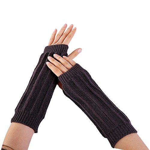 (Women Winter Warm Fingerless Knitted Long Gloves Mitten Wrist Arm Hand Warmer Crochet Thumbhole Knit Wrist Warmers)