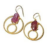 Handmade 22Karat Gold Vermeil Rough Ruby Fashion Earrings For Valentines Day Gift