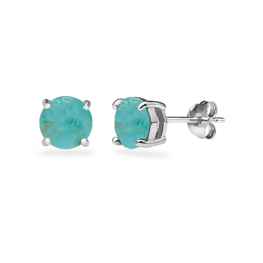 Sterling Silver Simulated Turquoise Round 6mm Prong-set Stud Earrings