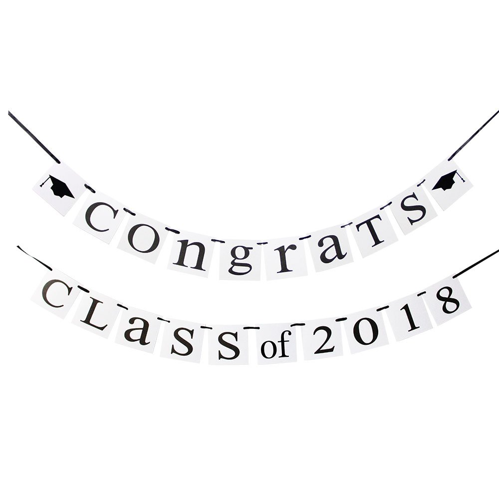 Hatcher lee Class Of 2018 Congrats Banner-Perfect Graduation Decorations Party Supplies for Grad Party Bunting Red White Black
