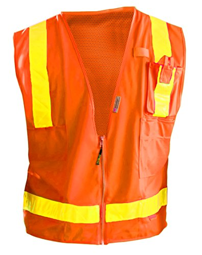 Occunomix LUX-SSLSDZ-OXL Class 2 High Visibility Premium Solid/Mesh Gloss Vest, X-Large, Orange