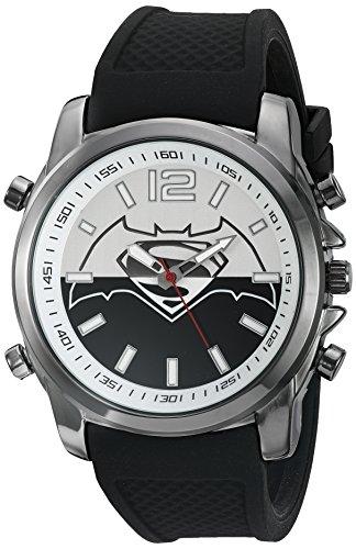 DC Comics Mens Quartz Metal and Silicone Casual Watch, Color:Black (Model: BVS9054)