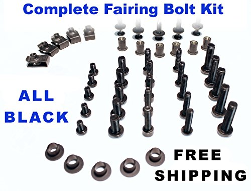 Black Complete Motorcycle Fairing Bolt Kit Honda CBR600RR 2003 - 2004 Body Screws, Fasteners, and Hardware by Bike Boltz (Image #9)