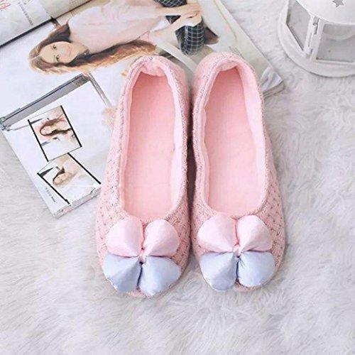 Euone Mujer Home Warm Mujeres Embarazadas Zapatos Impermeables Zapatos Antideslizantes De Punto Rosa