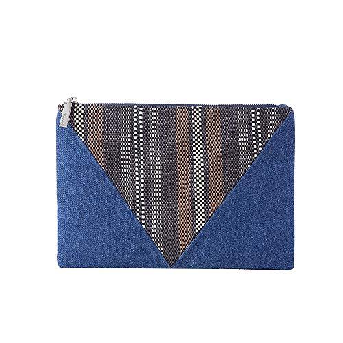 - Denim Clutch Jean Purse for Women Envelope Bags Straw Beach Handbag Raffia Weave Pouch Casual with Pocket(Denim/Brown)