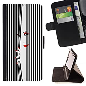 For HTC Desire 820 Case , Señora Lips Eyes White Negro Nails- la tarjeta de Crédito Slots PU Funda de cuero Monedero caso cubierta de piel