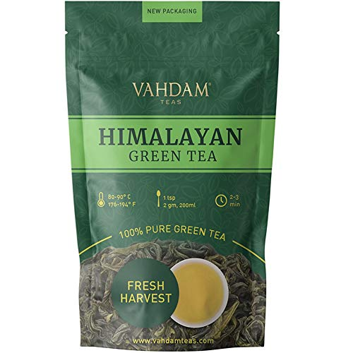 VAHDAM, Green Tea Leaves from Himalayas (50 Cups), 100% Natural Tea, POWERFUL ANTI-OXIDANTS, Brew Hot Tea, Iced Tea or Kombucha Tea, Green Tea Loose Leaf, 3.53oz (Best Loose Powder In India)