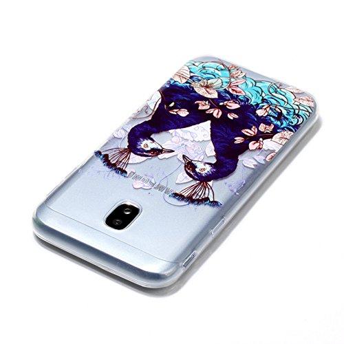 Funda Samsung Galaxy J7 (2017) J730F, Sunroyal [Anti-Scratch] [Anti-Scratch] Silicona Gel TPU Logo Creativo Clear Crystal Clear Bumper Suave Protección Ultra Delgada y Cable USB 3.3ft Micro USB Carga  Modelo 07