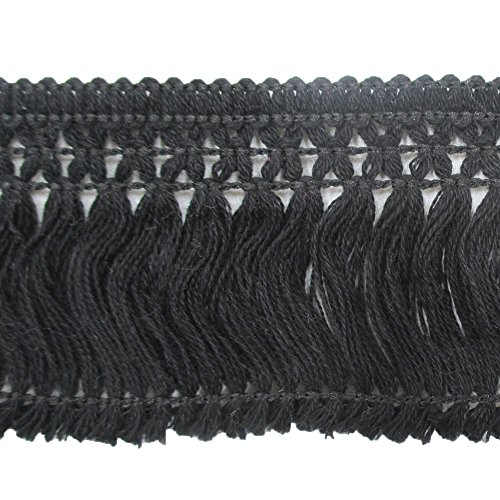 sel Fringe Lace Trims Pack of 10 Yards (Black) (Cotton Tassel Trim)
