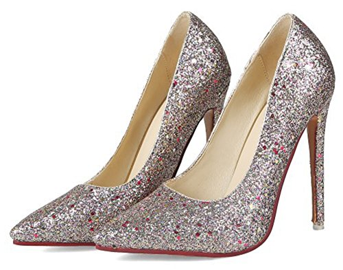 Aisun Womens Sparkly Sequins Evening Party Dressy Low Cut Pointed Toe Stiletto High Heels Slip On Pumps Shoes Gold wamzowJ96c