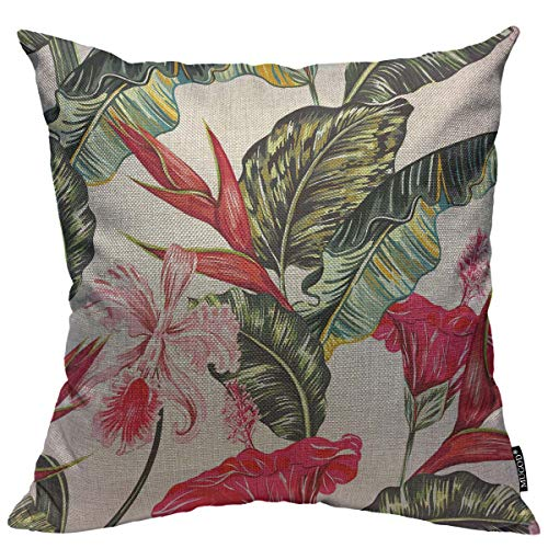 Mugod Floral Decoration Throw Pillow Cushion Covers Tropical Palm Leaves Hibiscus Orchid Bird of Paradise Flower Decorator Funny Pillows for Sofa Fall Home Decor Couch Pillow Case 18 X 18 Inch ()