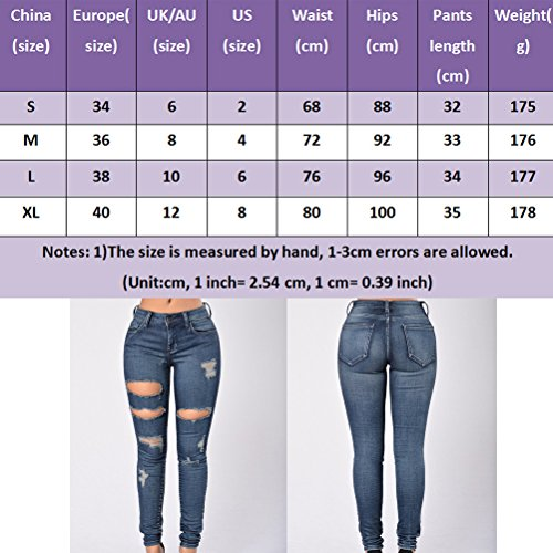 Holes Blue Pants Fashion Dark Trousers Donna Zhhlaixing Stretch Jeans Cotton Ladies Denim Slim 7wAnnTtx