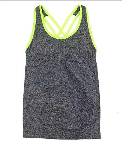 SGYHPL Frauen Pro Gym Sport Tank Mit Brustpolstern T-Shirt Yoga Workout Weste Fitness Training Übung Laufbekleidung Compress Tee Top L Grau Grüne Linie