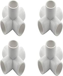 """SDTC Tech 1/2"""" 5 Way PVC Fitting Furniture Grade Pipe Elbow Connector for DIY PVC Shelf Garden Support Structure Storage Frame, White - 4 Pack"""