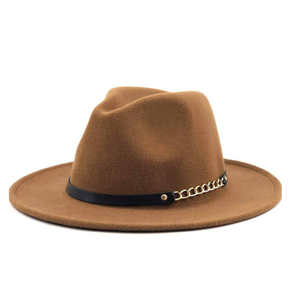 2019 Men Women Wool Fedora Hat Chain Leather Belt Outdoor Wool Felt Hat Panama Hat Jazz Hat by jdon-hats,