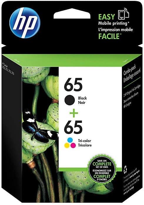 HP 65   2 Ink Cartridges   Black, Tri-color   Works with HP DeskJet 2600 Series, 3700 Series, HP ENVY 5000 Series, HP AMP 100, 120, 125, 130   N9K01AN, N9K02AN