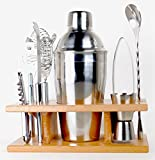 Image of Taylor & Sons 9 Piece Stainless Steel Bartender Set with Wooden Base Kitchen Accessories Cocktail Bar tool Set