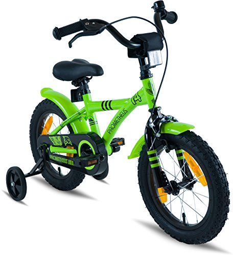 """PROMETHEUS Kids bike 14 inch Boys and Girls in Green & Black with stabilisers 