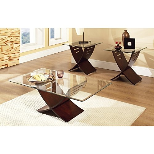 glass and wood coffee table set - 1