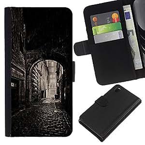 KingStore / Leather Etui en cuir / Sony Xperia Z3 D6603 / Calle Vieja Ciudad Medieval;