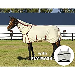 TuffRider Power Mesh Detachable Neck Fly Sheet with Free Fly Mask with Ears, Oatmeal, 78