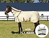 TuffRider Power Mesh Detachable Neck Fly Sheet with FREE Fly Mask with Ears, OATMEAL, 81