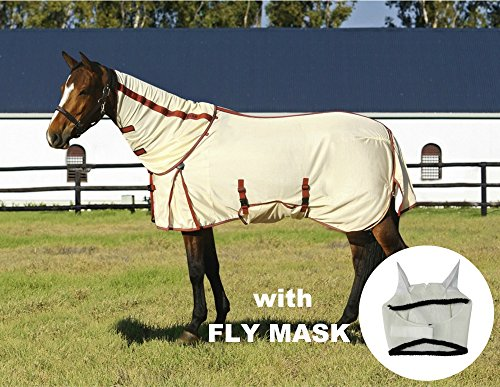 TuffRider Power Mesh Detachable Neck Fly Sheet with FREE Fly Mask with Ears, OATMEAL, 81 by TuffRider