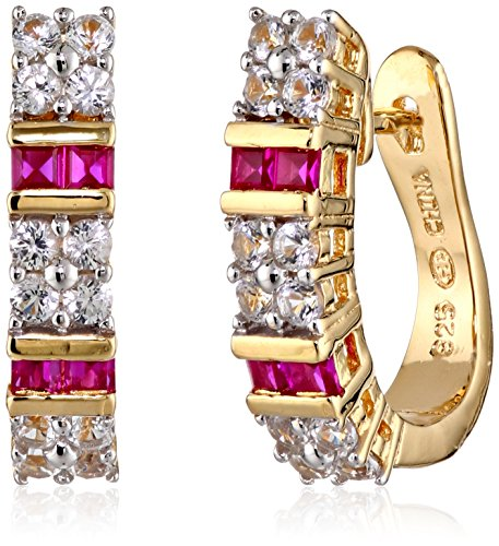 18k Yellow Gold Plated Sterling Silver Created Ruby and White Sapphire Hoop Earrings